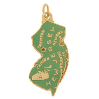 Vintage Enameled Map of New Jersey 14k Gold Charm