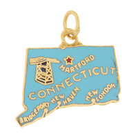 Vintage Enameled Map of Connecticut 14k Gold Charm