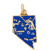 Vintage Enamel Map of Nevada 14k Gold Charm