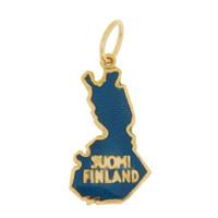 Vintage Enameled Map of Finland 14k Gold Charm
