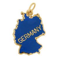 Vintage Enameled Map Germany 14k Gold Charm