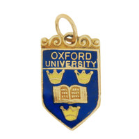 Vintage Enameled Oxford University Shield 9k Gold Charm