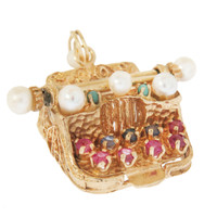 Vintage Jeweled Typewriter 14k Gold Charm