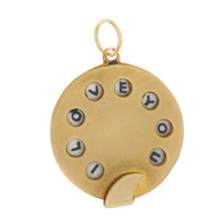 Vintage I Love You Phone Dial 14k Gold Charm