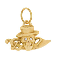 Vintage Diamond Skull & Sword 14k Gold Charm