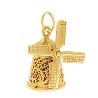 Vintage Detailed Windmill 14k Gold Charm