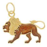Vintage Enamel Leo 14K Gold Charm