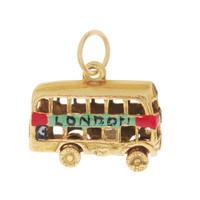 "Vintage Enameled Movable London ""#9"" Bus 9k Gold Charm"