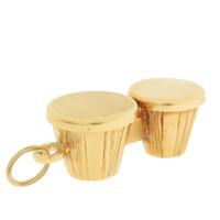 Vintage Bongo Drum 14K Gold Charm