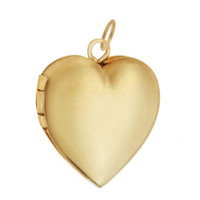 Medium Engravable Heart Locket 14k Gold Charm