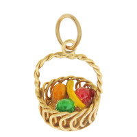Vintage Fruit Basket 14K Gold Charm