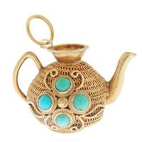 Vintage Turquoise Teapot 14K Gold Charm