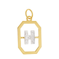 "Vintage Diamond Initial ""H"" 14k Gold Charm"