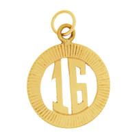 """Vintage Number """"16"""" 14K Gold Charm"""