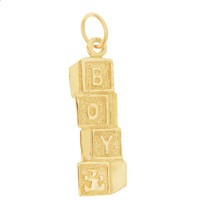 Vintage Baby Boy Blocks 14K Gold Charm