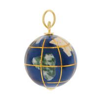 Enamel Globe 14K Gold Charm