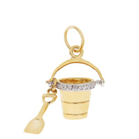 Diamond Sand Pail & Shovel 14K Gold Charm