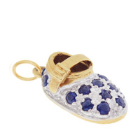 Vintage Diamond and Sapphire Baby Bootie 14K Gold Charm