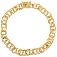 Vintage Petite Double Link with Heart Clasp 14K Gold Bracelet