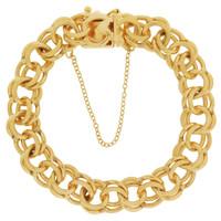 Vintage Classic Estate Link with Heart Clasp 14K Gold Bracelet