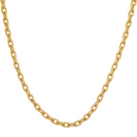 Vintage Thick Cable Link 14K Gold Charm Necklace