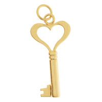 Large Heart Key 14K Gold Charm