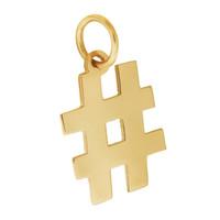 Hashtag Symbol 14K Gold Charm
