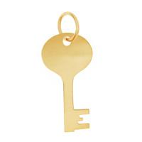Engravable House Key 14K Gold Charm