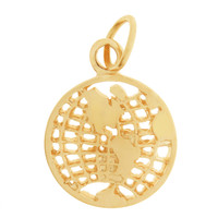 Flat Globe 14K Gold Charm