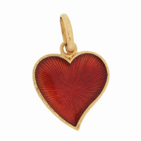 Vintage Red & Green Enamel Heart 18K Gold Charm