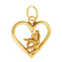 Vintage Angelic Heart 14K Gold Charm
