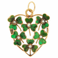 Vintage Enamel & Seed Pearl Heart 14K Gold Charm