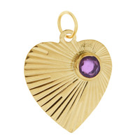Vintage Heart with Amethyst 14K Gold Charm