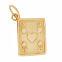 Vintage Ace of Hearts Playing Card 14K Gold Charm