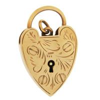 Vintage Heart Padlock 9K Gold Charm