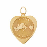 Vintage Token of Love Heart 14K Gold Charm