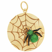 Vintage Enamel Spider on Web 14K Gold Charm