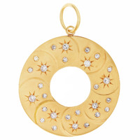 Vintage Star-Set Eternity Circle 14K Gold Charm
