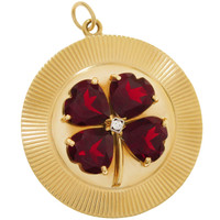 Vintage Disc with Garnet Clover 14K Gold Charm