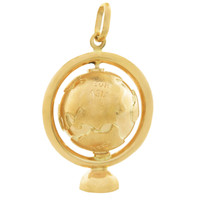 Vintage Spinning Globe on Stand 14k Gold Charm