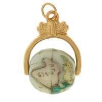 Vintage Spinning Porcelain Globe 14K Gold Charm