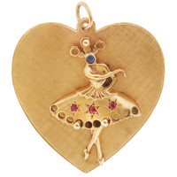 Vintage Double Sided Ballerina Heart 14K Gold Charm