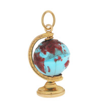 Vintage Spinning Colorful Globe 14k Gold Charm