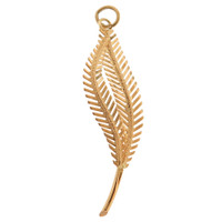 Vintage Textured Leaf 18K Gold Charm