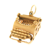 Vintage Movable Mid-Century Typewriter 14k Gold Charm