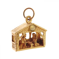 Vintage Nativity Scene Stanhope 14K Gold Charm