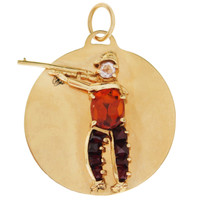 Vintage Gem-Set Hunter 14K Gold Charm