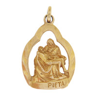Vintage Double Sided Pieta 14K Gold Charm
