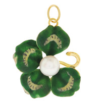 Vintage Enamel Four Leaf Clover with Pearl 14K Gold Charm