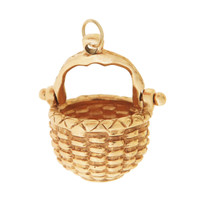 Vintage Movable Woven Nantucket Basket 14K Gold Charm